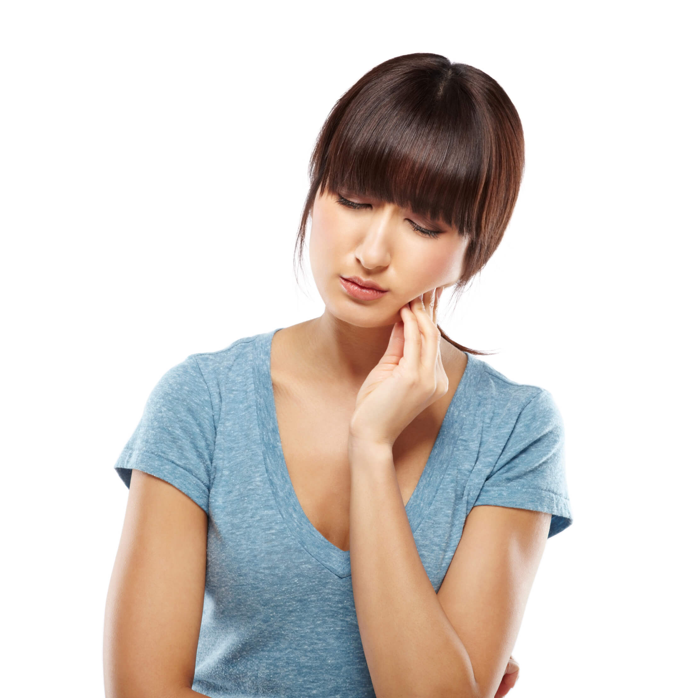 Woman suffering from TMJ pain (TMD)